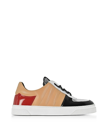 Light Brown Nappa and Silver Laminated Leather Sneakers