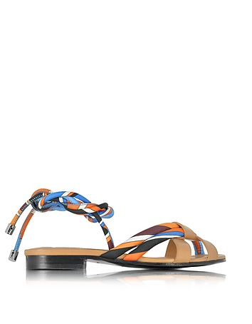 Navy Sky Blue and Mandarin Silk and Leather Flat Sandal