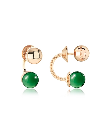 Boulevard Stone Yellow Gold Over Bronze Double Ball Drop Earrings w/Green Hydrothermal Stone