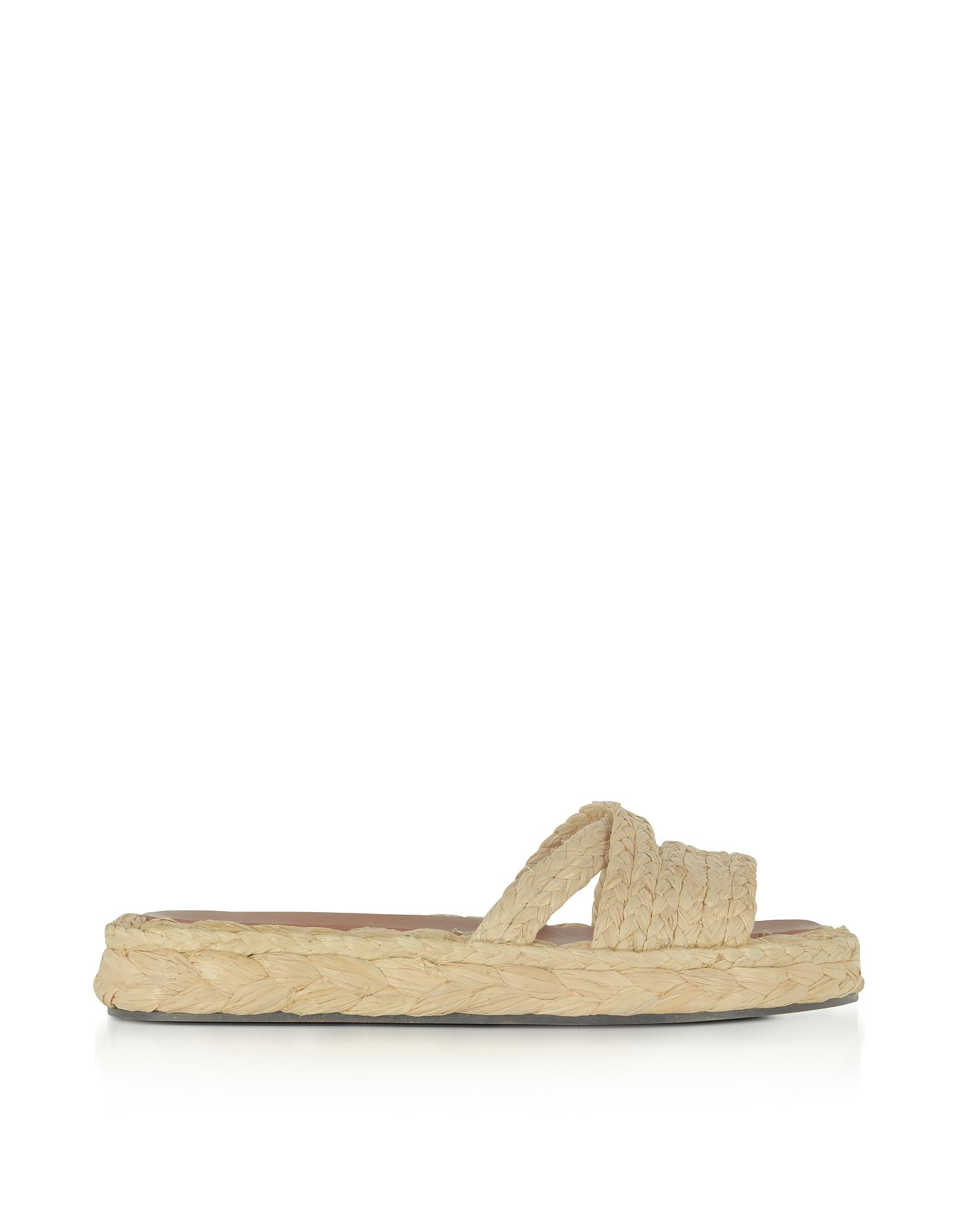 Idalie Natural Braided Raffia Flat Sandals, Brown