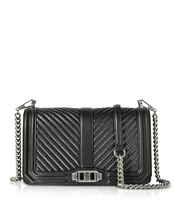Black Quilted Leather Love Crossbody Bag rm130318-042-00