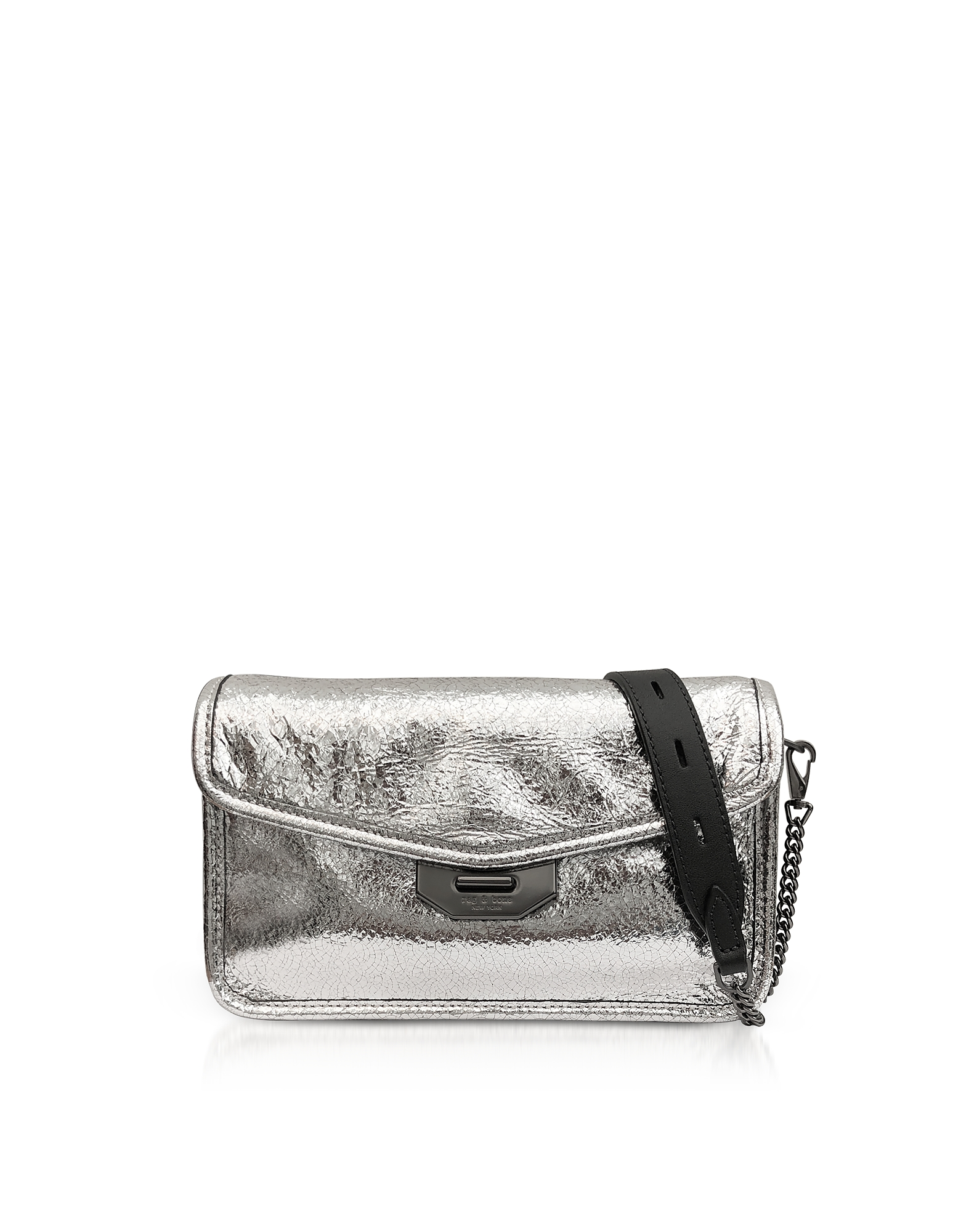 Silver Crackle Leather Field Clutch