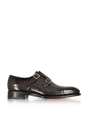 Dark Brown Leather Double Monk Strap Shoes