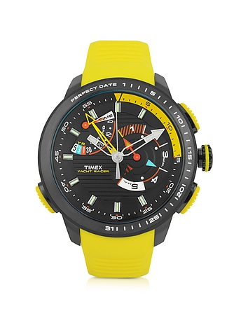 Yacht Racer Black Stainless Steel Case and Yellow Silicone Strap Men's Chrono Watch