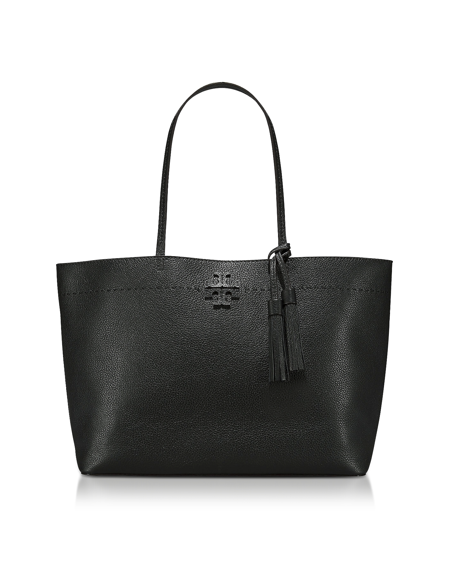 Mcgraw Black Textured Leather Tote Bag, Black/Navy