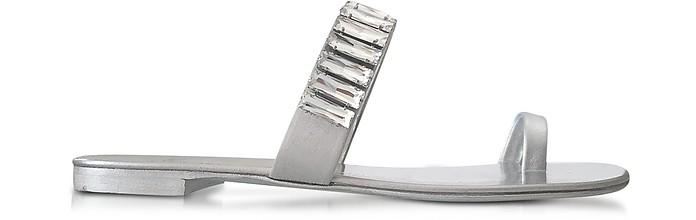 Giuseppe Zanotti Leathers Pia Silver Leather Flat Sandal w/Crystals