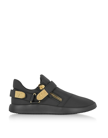 Black Leather Low Top Men's Sneakers